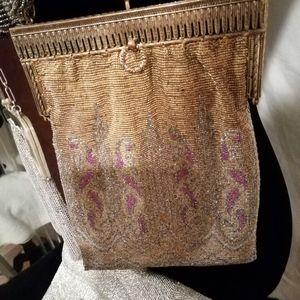 Handbags - Vintage 1920s, Ornate Hinge Frame  Brass Bag